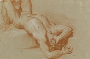 Homme nu, précipité by Charles Le Brun