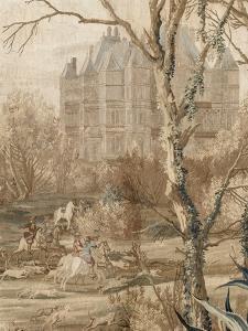 Les Maisons royales. Une entrefenêtre de la tenture. Une chasse en vue du château de Madrid by Charles Le Brun