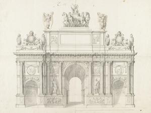 Projet pour l'arc de triomphe de la rue Saint-Antoine à Paris by Charles Le Brun