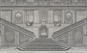 Vue intérieure du grand escalier de Versailles, opposé à l'entrée by Charles Le Brun
