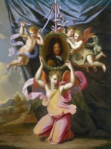 Angels Supporting an Oval Portrait of Louis Xiv before a Draped Curtain in a Landscape by Charles Lebrun (Follower of)