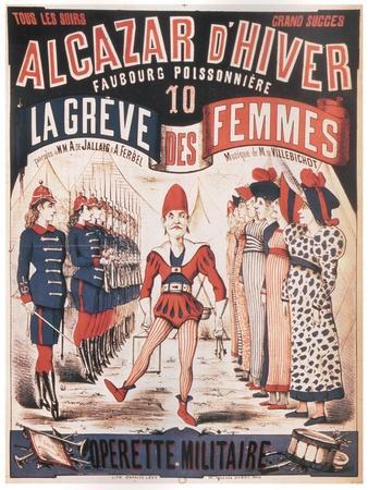 Poster for the Operetta La Grêve Des Femmes by A. De Villebichot, 1879-1880