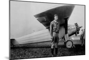 Charles Lindbergh (1902-1974) American Aviator in Front of His Plane Spirit of Saint Louis