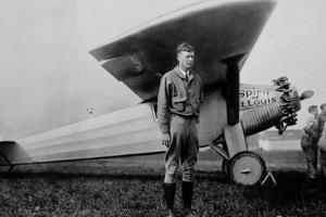 Charles Lindbergh (1902-1974) American Aviator in Front of His Plane Spirit of Saint Louis