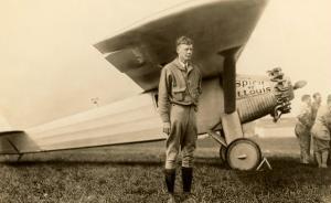 Charles Lindbergh and Plane