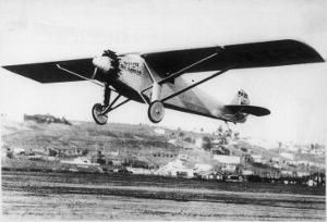 """Charles Lindbergh in the """"Spirit of St. Louis"""" Sets off from New York"""