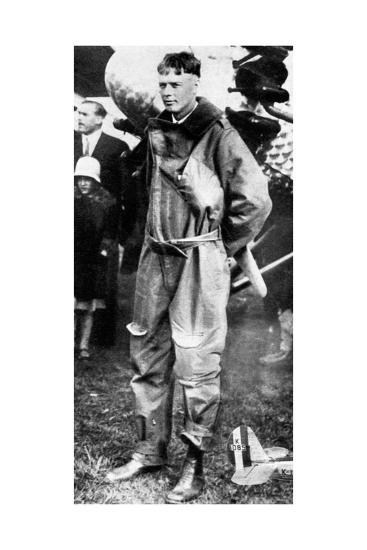 Charles Lindburgh, Record Breaking Aviator, 1927--Giclee Print