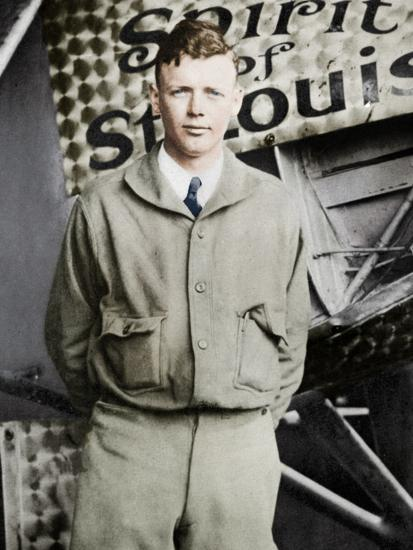 Charles Lindburgh, record breaking aviator, 1927-Unknown-Photographic Print