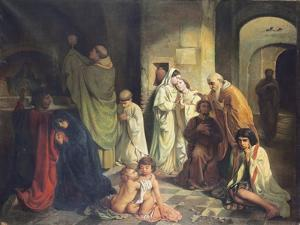 The Kiss of Peace in the Catacombs by Charles Louis Fredy de Coubertin
