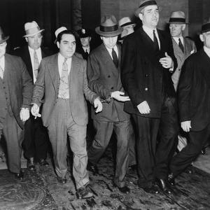 Charles 'Lucky' Luciano (In Center with Head Down) Leaving New York Supreme Court, 1936