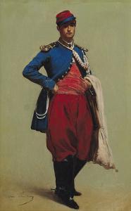 Portrait of Claude Monet (1840-1926) in Uniform, 1861 by Charles Marie Lhuillier