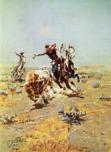 Cowboy Roping a Steer by Charles Marion Russell
