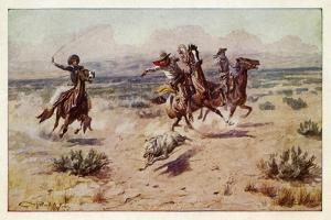 Cowboys chasing a prairie wolf by Charles Marion Russell