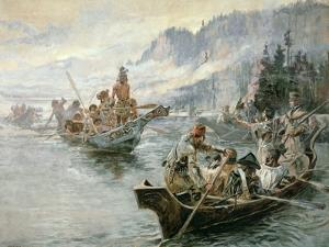 Lewis and Clark on the Lower Columbia River, 1905 by Charles Marion Russell