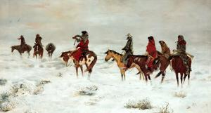 Lost in a Snowstorm-We are Friends by Charles Marion Russell