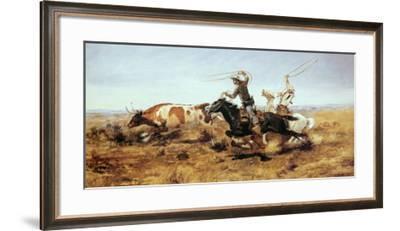 O. H. Cowboys Roping a Steer