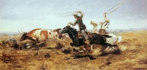 O. H. Cowboys Roping a Steer by Charles Marion Russell