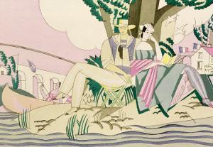 Picnic and Fishing Scene, circa 1920 by Charles Martin