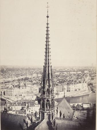 Paris, Flèche de Notre-Dame, en plomb et cuivre martelé, Viollet le Duc by Charles Marville