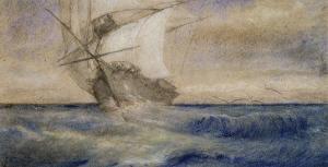 Voilier dans la tempête by Charles Meryon
