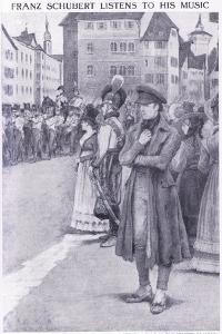 Franz Schubert Listens to His Music in the Streets of Vienna by Charles Mills Sheldon