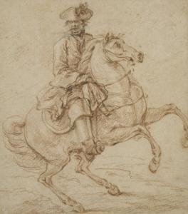 Cavalier sur un cheval piaffant ou caracolant by Charles Parrocel
