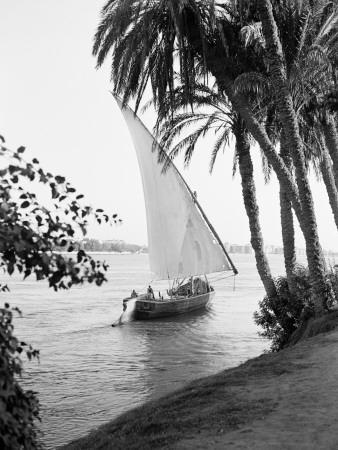 Tradition Egyptian Felucca Boat on River Nile, Cairo on Horizon