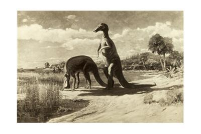 A Painting of Two Dinosaurs with Duck-Like Heads by Charles R. Knight