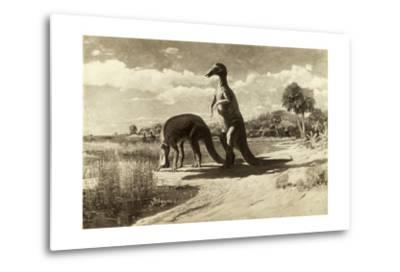 A Painting of Two Dinosaurs with Duck-Like Heads