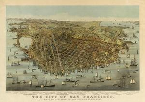 San Francisco Birds Eye View, c.1878 by Charles R. Parsons