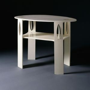 A White Oval Side Table, Originally Designed for 14 Kingsborough Gardens, Glasgow, 1902 by Charles Rennie Mackintosh