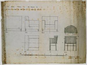 Designs for an Upholstered Chair and a Spindle Chair Shown in Elevation and Plans, 1909 by Charles Rennie Mackintosh