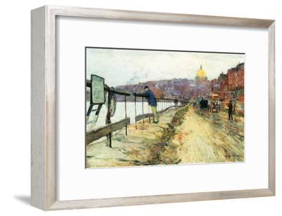 Charles River and Beacon Hill-Childe Hassam-Framed Art Print