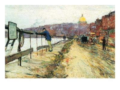 Charles River and Beacon Hill-Childe Hassam-Art Print