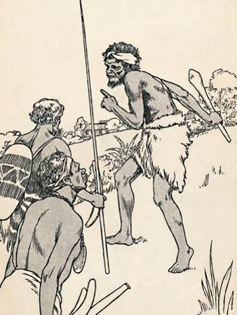 Aboriginal men approaching a settlers farm, 1912 by Charles Robinson