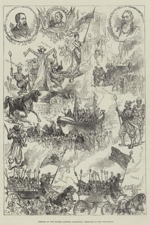 Opening of the Winter Gardens, Blackpool, Sketches in the Procession by Charles Robinson