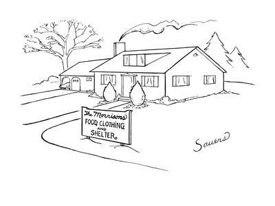 Picture of house with a sign in front of it that reads,'The Morrisons Food? - New Yorker Cartoon