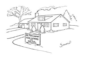 Picture of house with a sign in front of it that reads,'The Morrisons Food? - New Yorker Cartoon by Charles Sauers