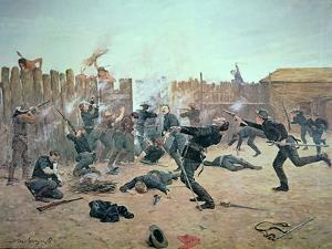 Defending the Fort: Indians Attack a U.S. Cavalry Post in the 1870S by Charles Schreyvogel
