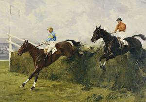 Golden Miller and Delaneige at the Last Fence at the Grand National, 1934 by Charles Simpson