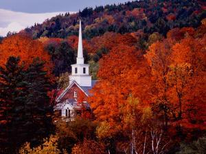 Autumn Colors and First Baptist Church of South Londonderry, Vermont, USA by Charles Sleicher