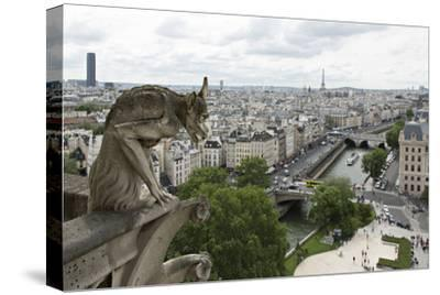 Europe, France, Paris. a Gargoyle on the Notre Dame Cathedral