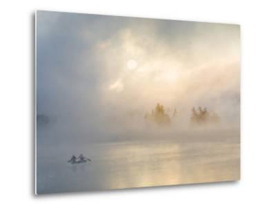 Two Canoers Paddling, Cranberry Lake, Adirondack State Park, New York, USA