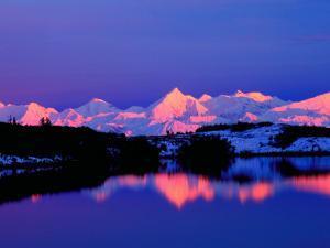 View of Alaskan Range and Mt. Denali from Reflection Pond, Denali National Park, Alaska, USA by Charles Sleicher