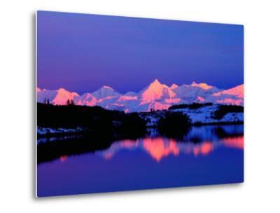 View of Alaskan Range and Mt. Denali from Reflection Pond, Denali National Park, Alaska, USA