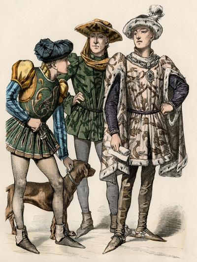Charles the Bold, Duke of Burgundy (Right), with His Attendants, 1400s--Giclee Print