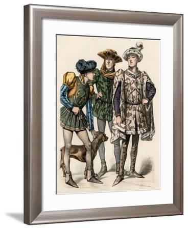 Charles the Bold, Duke of Burgundy (Right), with His Attendants, 1400s--Framed Giclee Print