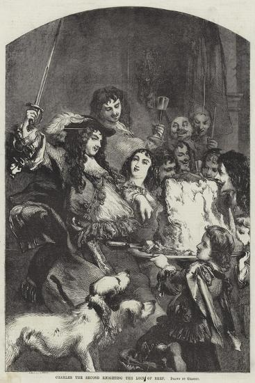 Charles the Second Knighting the Loin of Beef--Giclee Print