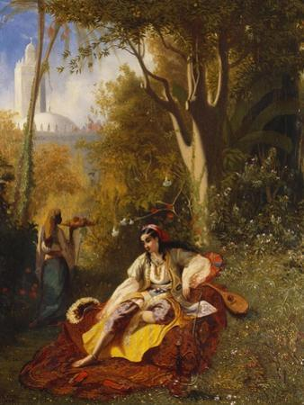 An Algerian Woman and Her Servant in a Garden by Charles Theodore Frere