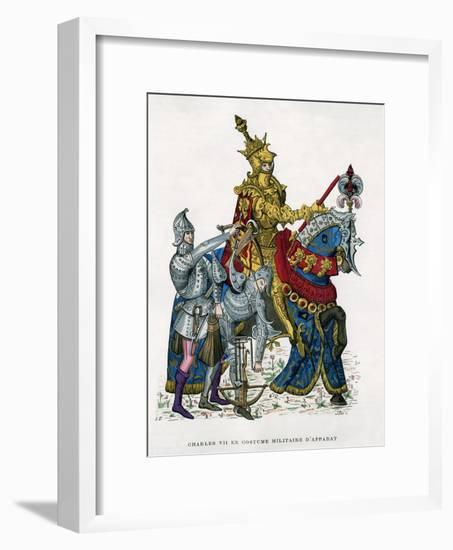 Charles VII, King of France, on Horseback in Full Armour, 15th Century (1882-188)- Gautier-Framed Giclee Print